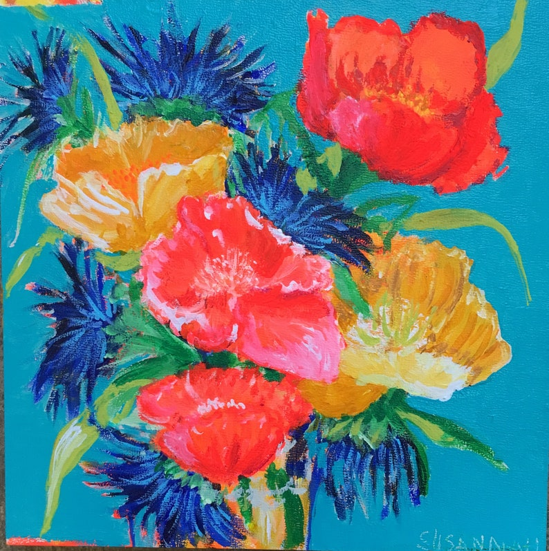 Ellen's Fave Original Acrylic Painting 100 Flowers in 100 image 0