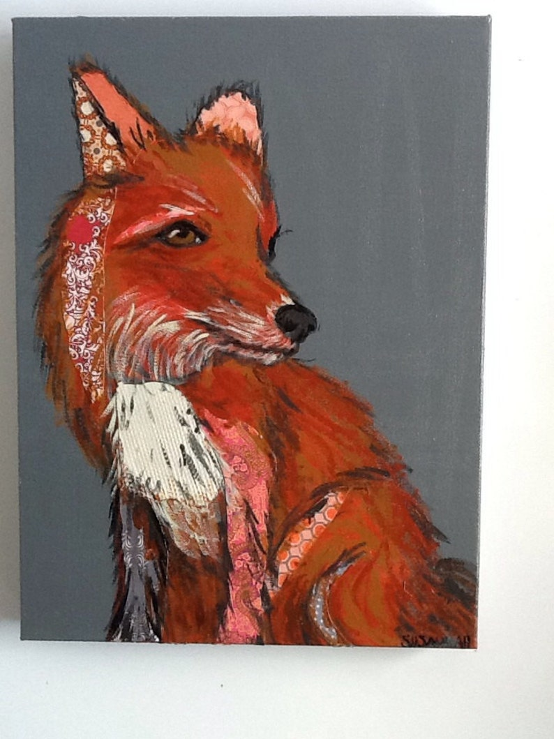 Red Fox Original Collage Painting image 0