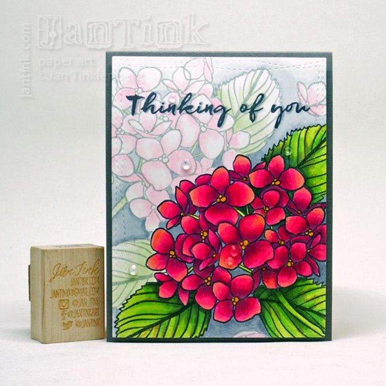 Thinking of You Beautiful Hydrangeas Fancy Greeting Card Handmade in Pink Magenta Gray Green for Friend Sister Mom Daughter Aunt Coworker