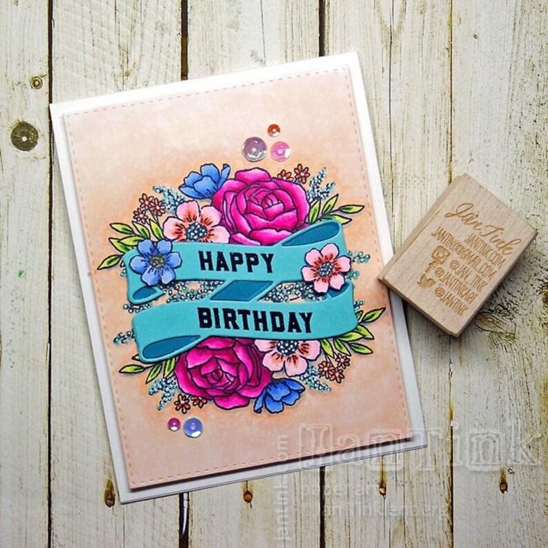 Joyeux Anniversaire Belle Floral Fantaisie Carte De Souhaits à La Main En Rose Aqua Bleu Vert Pêche Pour Femme Petite Amie Soeur Maman Fille Tante