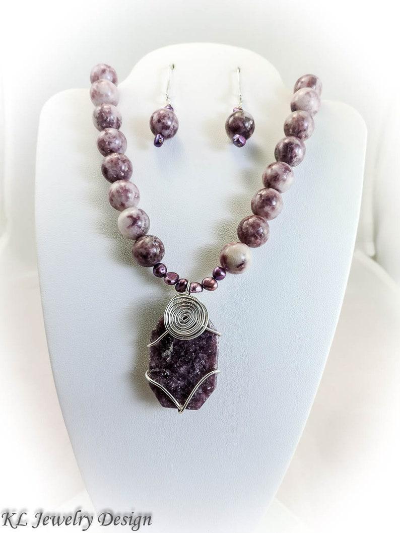 Lepidolite Jewelry Set