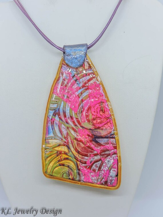 yellow and blue polymer clay necklace polymer clay pendant Purple