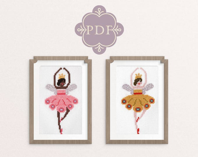 PDF Counted Cross Stitch - Ballerina Fairies, fairy, cross stitch diy, how-to, embroidery, pattern, gift, dmc, supply, instruction, baby