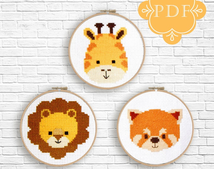 PDF Counted Cross Stitch Pattern  / cute cross stitch, lion, red panda, giraffe, how-to, embroidery, pattern, gift,supply, baby, nursery