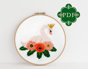 PDF Counted Cross Stitch - Swan / floral cross stitch, diy, how-to, embroidery, pattern, gift, dmc, supply, instruction, swan lake, ballet