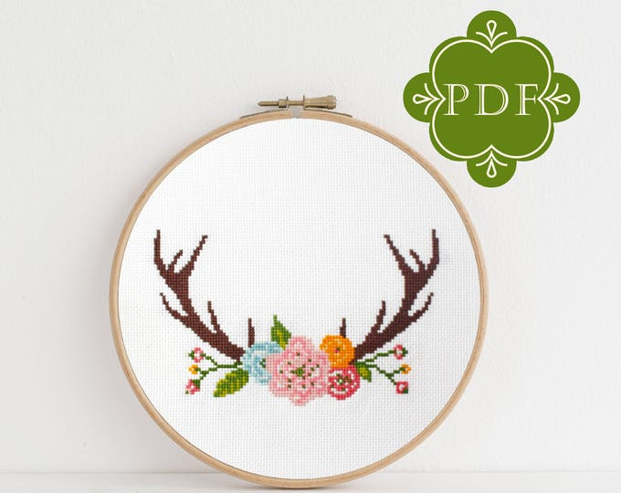PDF Counted Cross Stitch - Antlers / floral cross stitch, diy, how-to, embroidery, pattern, gift, dmc, supply, instruction, boho