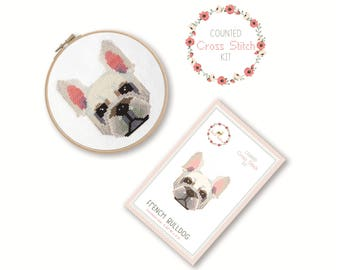 Counted Cross Stitch Kit - French Bulldog / french bulldog cross stitch pattern, craft kit, craft, dog, bulldog, gift for dog lover