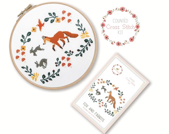 Counted Cross Stitch Kit - Fox and Rabbits / fox cross stitch pattern, craft kit, embroidery, gift, fun, dmc, supplies, handmade, woodland