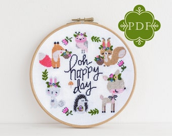PDF Counted Cross Stitch - Happy Woodland / cross stitch pattern, embroidery, pattern, gift, instruction, baby, nursery, fox, deer, xstitch