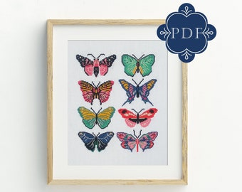 PDF Counted Cross Stitch - Butterflies /  cross stitch, diy, how-to, embroidery, pattern, gift, dmc, supply, instruction, moth, stitch