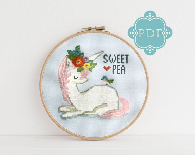 PDF Cross Stitch Pattern - Sweet Pea / unicorn cross stitch, gift, how-to, embroidery, pattern, gift, dmc, bird cross stitch, tween girl