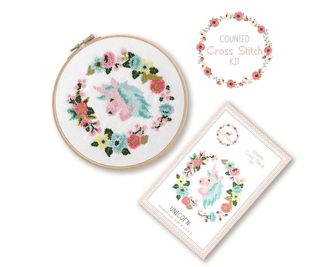 Counted Cross Stitch Kit - Unicorn / unicorn cross stitch pattern, craft kit, embroidery, nursery decor, gift, floral, baby gift craft
