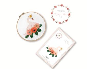 Counted Cross Stitch Kit - Swan / bird cross stitch pattern, craft kit, embroidery, gift, fun, dmc, supplies, handmade, swan lake, ballet