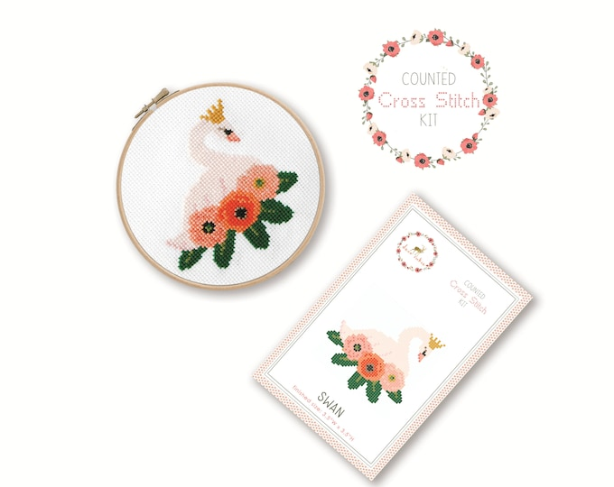 Counted Cross Stitch Kit - Swan / bird cross stitch pattern, craft kit, embroidery, gift, fun, dmc, supplies, handmade, swan lake, ballet