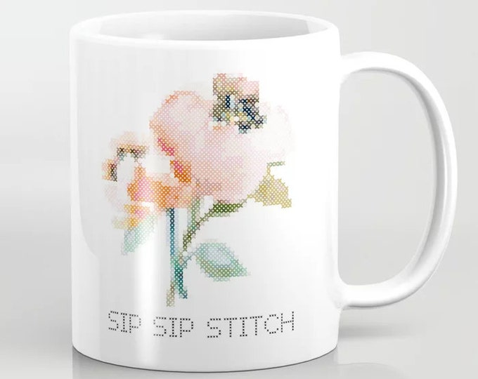 Mug - Sip Sip Stitch / crafter mug, cross stitch, embroidery, gift,  handmade, maker, embroidery, stitching, stitcher, coffee, tea