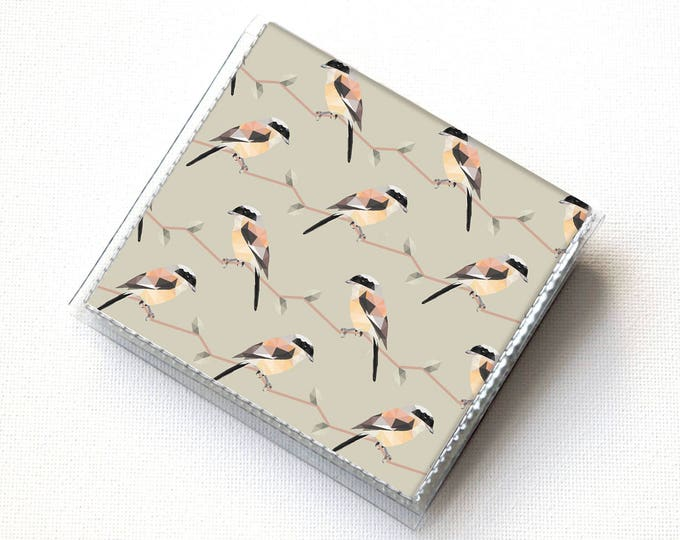 Square Card Holder - Geometric Birds / vegan wallet, square wallet, case, vinyl, snap, wallet, slim, moo case, square, bird, woodland