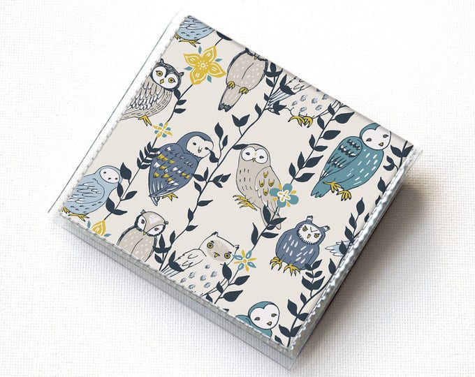 Handmade Vinyl Moo Square Card Holder - Owls in Flowers / case, vinyl, snap, wallet, mini card case, moo case, square, woodland animals