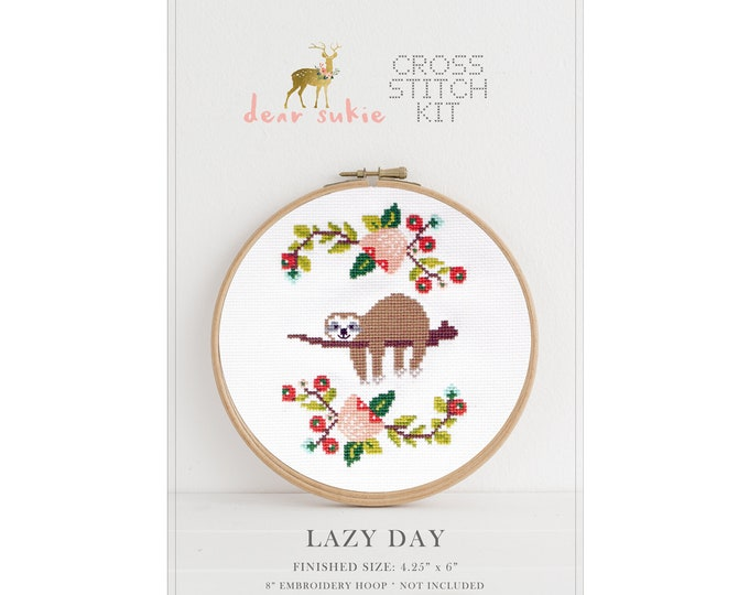 Counted Cross Stitch Kit - Lazy Day / sloth cross stitch pattern, craft kit, embroidery, gift, fun, dmc, supplies, handmade, xstitch, kit