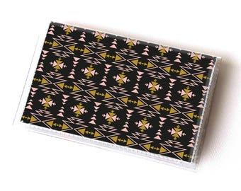 Handmade Vinyl Card Holder - Aztec2 / card case, vinyl wallet, women's wallet, small wallet, cute, boho, aztec, tribal, mustard,