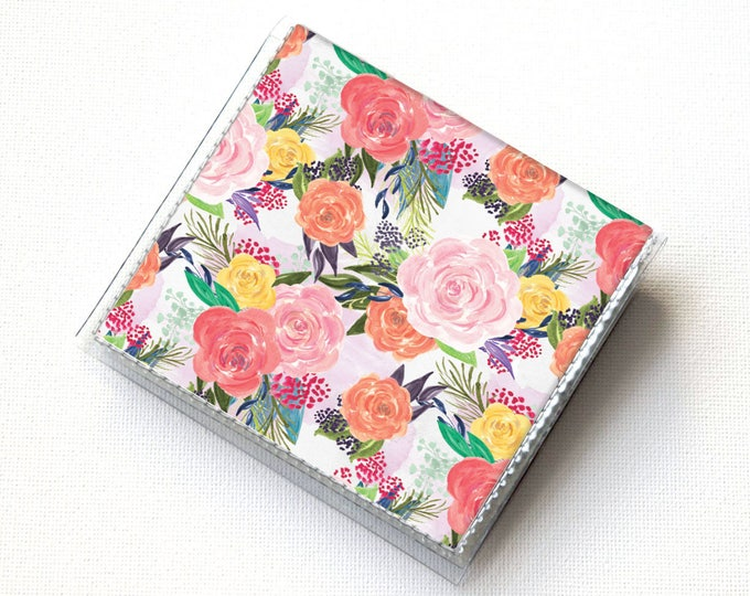 Handmade Vinyl Moo Square Card Holder - Joyful Spring1 / case, vinyl, snap, wallet, paper, mini card case, moo case, square, floral, summer