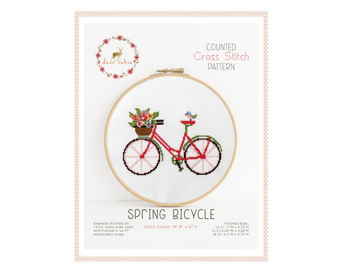 Counted Cross Stitch Pattern - Spring Bicycle / cross stitch, diy, how-to, embroidery, pattern, gift, bike, bicycle cross stitch pattern