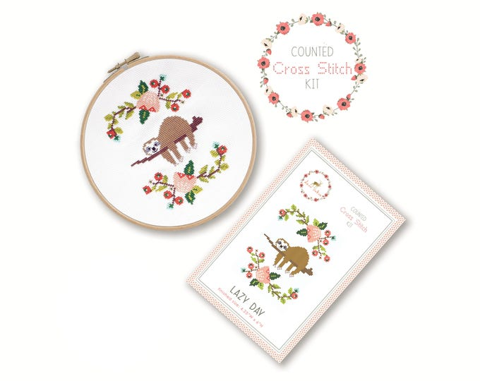 Counted Cross Stitch Kit - Lazy Day / sloth cross stitch pattern, craft kit, embroidery, gift, fun, dmc, supplies, handmade, sloth baby gift