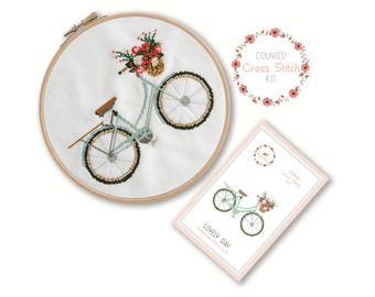 Counted Cross Stitch Kit - Lovely Day / bicycle cross stitch, craft kit, embroidery, pattern, gift, fun craft, supplies, instruction, bike