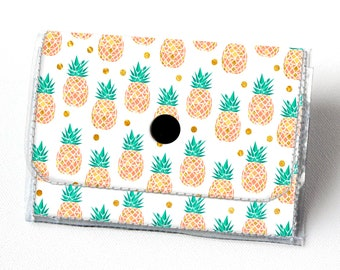 Vinyl Accordion Wallet - Tropical Summer2 /  pineapples, summer, pink, small wallet, snap, cute, card case, vinyl wallet, women's, fruit