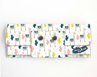 Vinyl Long Wallet - Alpaca / llama, vegan, pretty, large wallet, clutch, card case, vinyl wallet, big, cute, cactus, succulent, long