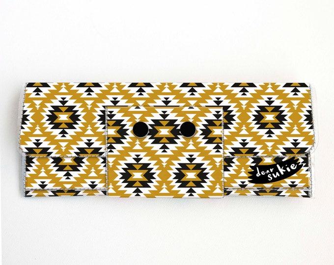 Vinyl Long Wallet - Aztec1 / vegan, large wallet, clutch, card case, vinyl wallet, handmade, aztec, geometric, mustard, bohemian, zipper