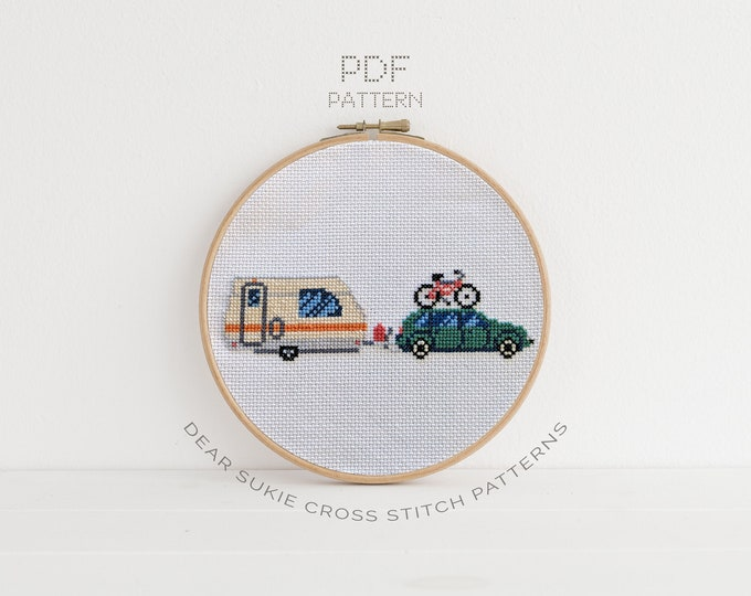 Featured listing image: PDF Counted Cross Stitch - Car and Camper / traveller, diy, how-to, embroidery, pattern, gift, dmc, supply, instruction, kids