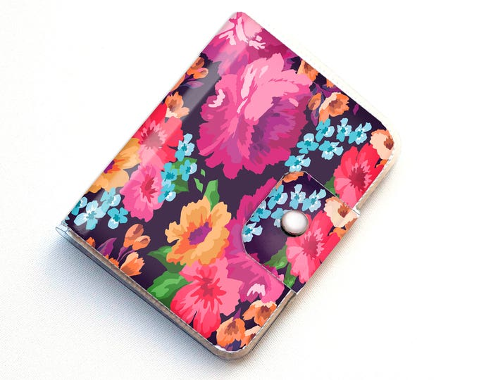 Handmade Vinyl Passport Case - Margot Purple / travel wallet, passport, gift for traveller, vinyl, woman's, floral wallet, vegan wallet