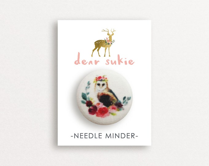Needle Minder - Owl needle minder, bird,  embroidery, cross stitch, needlework, supplies, needle minder for cross stitch, magnet, gift, cute