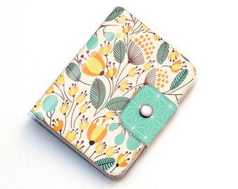 Handmade Vinyl Passport Case - Piano Floral / traveller, passport, vinyl, gift, womans, wallet, flowers, floral, flowery, garden, blue