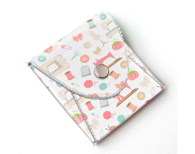 Vinyl Pouch - Sewing Notions / wallet, vegan, change, snap, small, little, pocket wallet, gift, pink, sewing, case, notion, travel