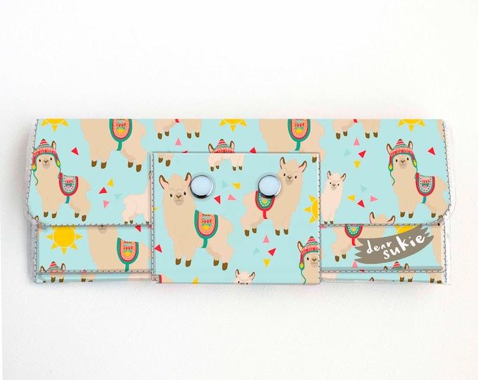 Vinyl Long Wallet - Sunny Alpaca / llama, vegan, pretty, large wallet, clutch, card case, vinyl wallet, big, cute, sun