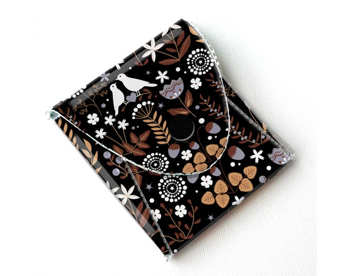 Handmade Vinyl Coin Purse - Autumn Flora/ wallet, vegan, change, snap, small, little, pocket wallet, gift, bird, floral, cute, flowers