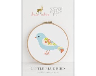 Counted Cross Stitch Kit - Little Blue Bird / bird cross stitch pattern, craft kit, embroidery, gift, fun, dmc, supplies, handmade, bird