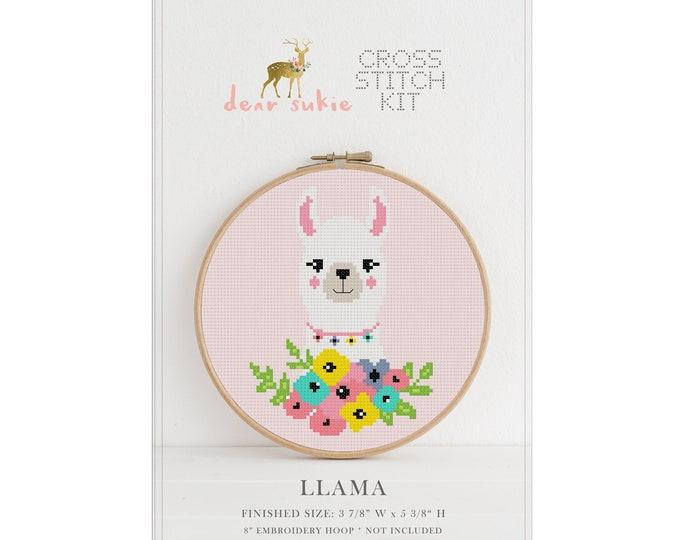 Counted Cross Stitch Kit - Llama / llama cross stitch pattern, craft kit, embroidery, gift, fun, dmc, supplies, handmade, alpaca, kit