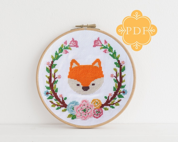 PDF Counted Cross Stitch - Foxy / fox cross stitch, diy, embroidery, pattern, gift, dmc, supply, instruction, baby, nursery, woodland