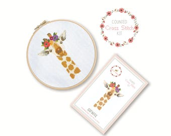 Counted Cross Stitch Kit - Giraffe / giraffe cross stitch pattern, craft kit, embroidery, pattern, gift, fun craft, nursery, baby gift