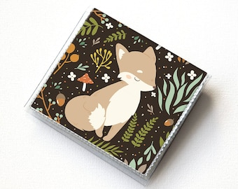Vinyl Moo Square Card Holder - Forest Fox 1 / fox wallet, vinyl, snap, mini case, moo case, small, square, foxes, gift, fox, woodland