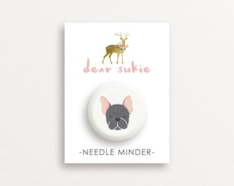 Needle Minder - French Bulldog, cute needle minder, cute,  embroidery, cross stitch, needlework, supplies, xstitch, dog, magnet, gift