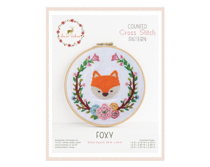 Counted Cross Stitch Pattern - Foxy / fox cross stitch, diy, how-to, embroidery, pattern, gift, supply, instruction, baby, nursery, cute