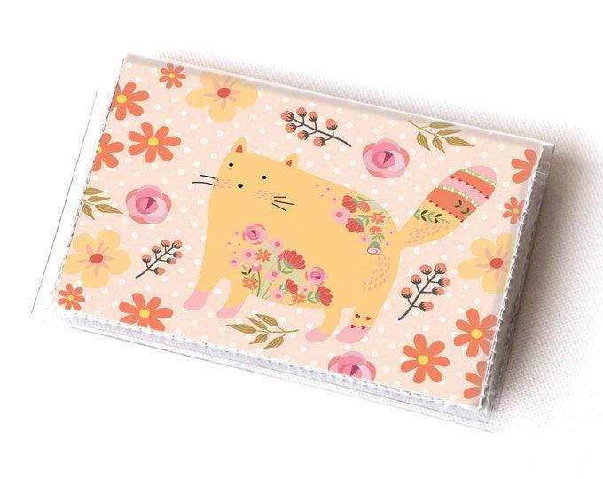 Vinyl Card Holder - Flower Cats / kitten, cat, floral, flowers, case, vinyl wallet, women's wallet, small, pretty, handmade,cute, polka dot