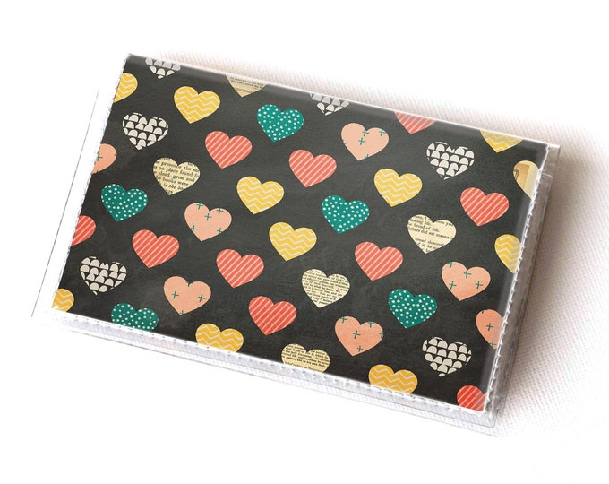 Vinyl Card Holder - Deeply Madly  / card case, vinyl wallet, women's wallet, small wallet, pretty, gift, heart, valentines day, love, yellow