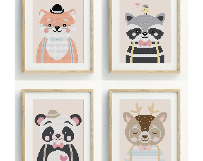 PDF Counted Cross Stitch Pattern - Animal Gang / cute cross stitch, fox, raccoon, deer, panda, embroidery, pattern, gift,baby, nursery