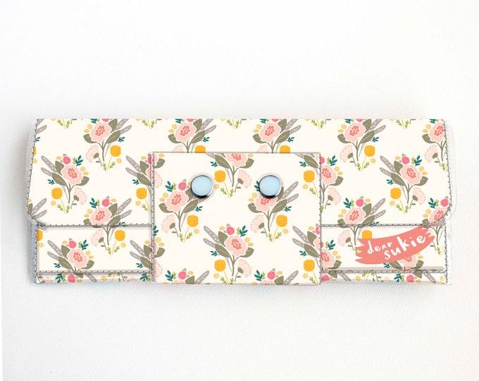Vinyl Long Wallet - Flora Bouquet / floral, pink, vegan, pretty, large wallet, clutch, card case, vinyl wallet, big, woman, yellow, summer