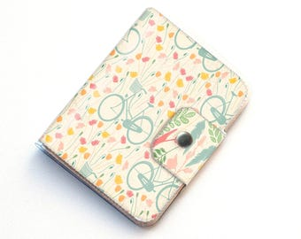 Handmade Vinyl Passport Case - Spring Bicycles / traveller, passport, vinyl, gift, womans, wallet, cyclist, bike, bicycle, travel