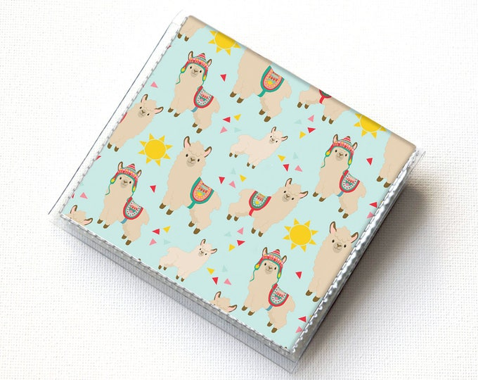 Vinyl Moo Square Card Holder - Sunny Alpaca / case, vinyl, snap, wallet, mini card case, moo case, square, sun, llama, cute, small, vegan